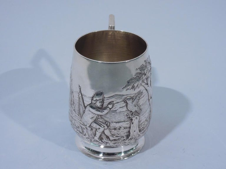 Early 20th Century Antique English Edwardian Sterling Silver Baby Cup with Pastoral Scene For Sale
