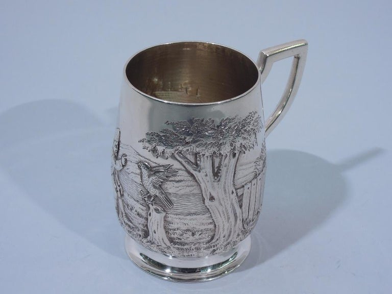 Antique English Edwardian Sterling Silver Baby Cup with Pastoral Scene For Sale 1