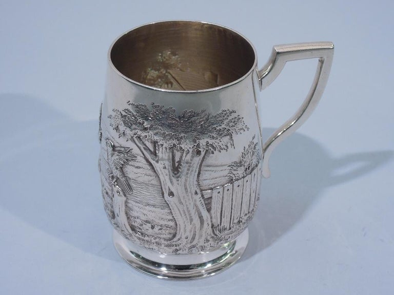 Antique English Edwardian Sterling Silver Baby Cup with Pastoral Scene For Sale 2