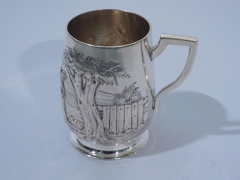 Antique English Edwardian Sterling Silver Baby Cup with Pastoral Scene For Sale 3