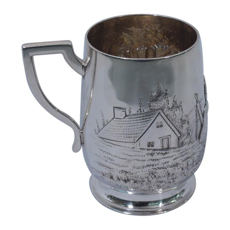 Antique English Edwardian Sterling Silver Baby Cup with Pastoral Scene For Sale