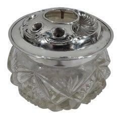 Antique English Edwardian Sterling Silver & Brilliant-Cut Glass Jar