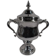 Antique English Edwardian Sterling Silver Covered Urn Trophy Cup