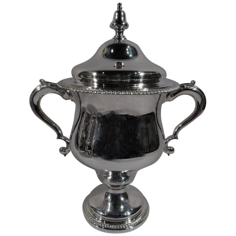 Antique English Edwardian Sterling Silver Covered Urn Trophy Cup For Sale