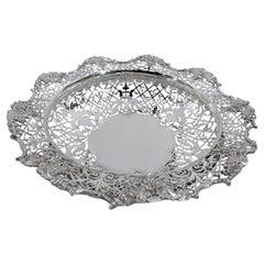 Antique English Edwardian Sterling Silver Grape Centerpiece Bowl