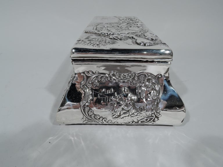 Antique English Edwardian Sterling Silver Jewelry Casket Box In Good Condition For Sale In New York, NY