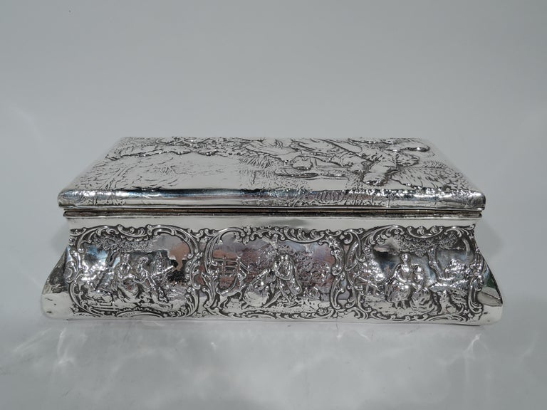 Early 20th Century Antique English Edwardian Sterling Silver Jewelry Casket Box For Sale