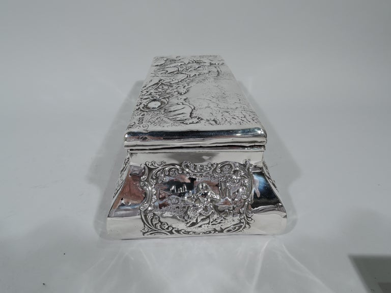 Antique English Edwardian Sterling Silver Jewelry Casket Box For Sale 1