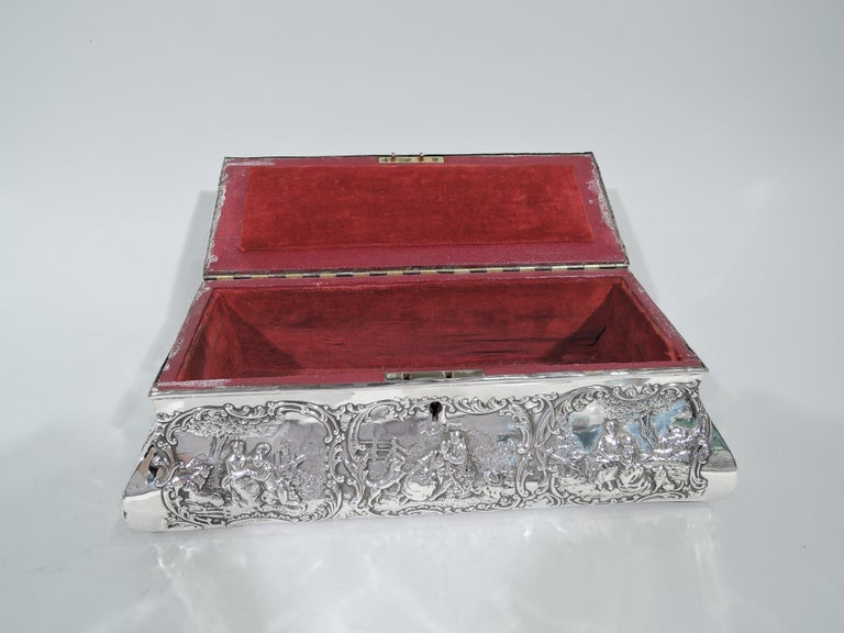 Antique English Edwardian Sterling Silver Jewelry Casket Box For Sale 2