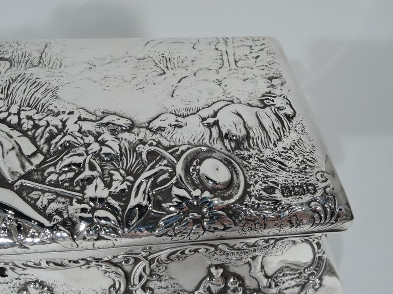 Antique English Edwardian Sterling Silver Jewelry Casket Box For Sale 5