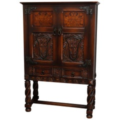 Antique English Edwardian Style Inlaid And Carved Oak China Cabinet Circa 1920