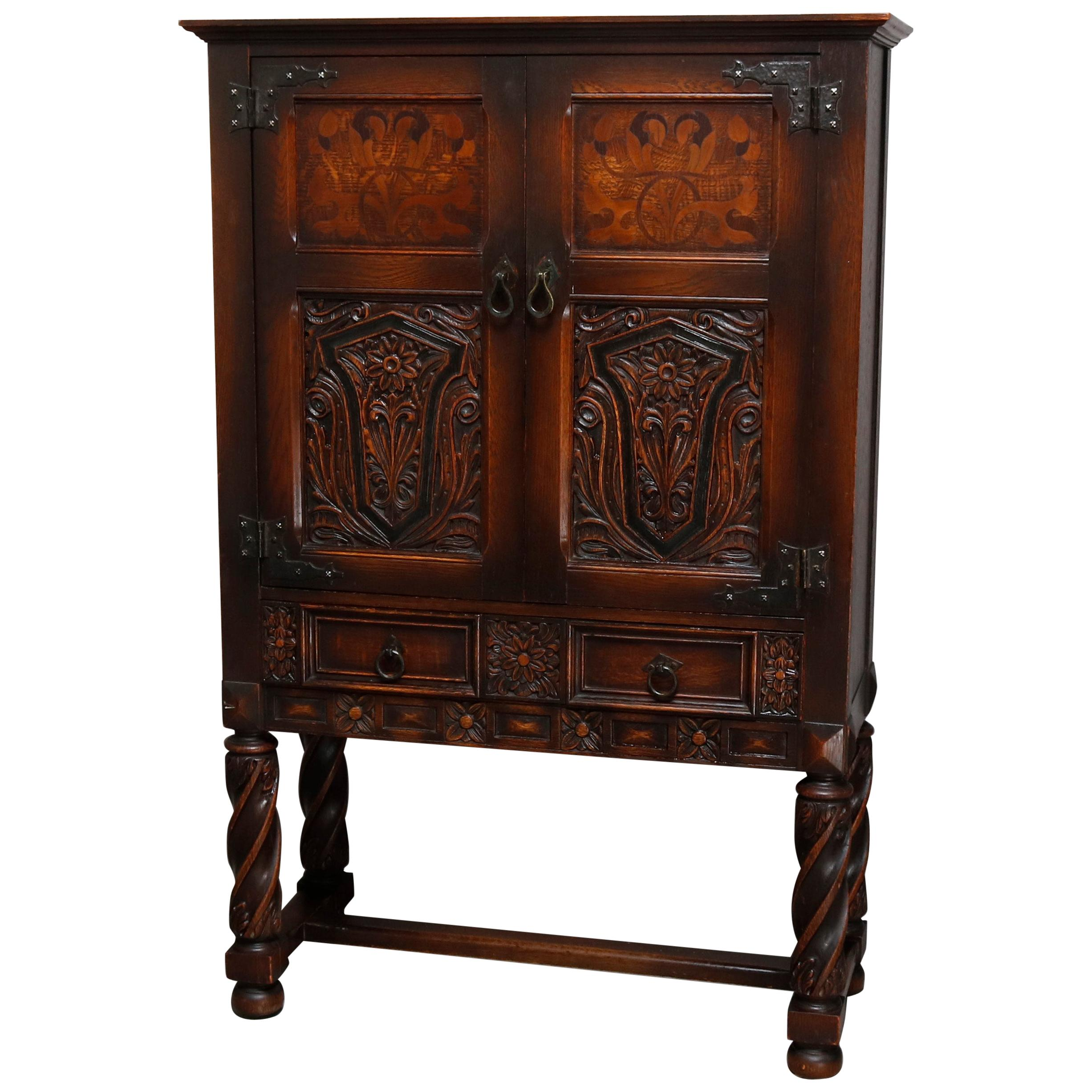 Delicieux Antique English Edwardian Style Inlaid And Carved Oak China Cabinet, Circa  1920