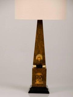 Antique English Egyptian Revival Obelisk Lamp circa 1910
