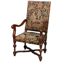 Antique English Elizabethan Style Walnut and Tapestry Tall Throne Chair