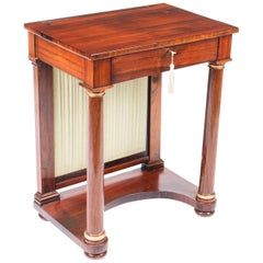 Antique English Empire Console Writing Side Table, 19th Century