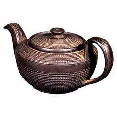Antique English Engine-Turned Black Jasperware Teapot, Possibly Leeds, 1800