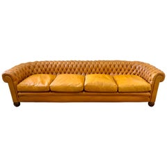 Extra Large English Leather Tufted Chesterfield Sofa