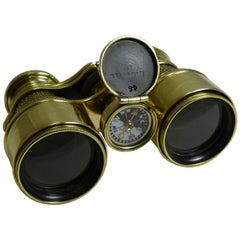 Antique English Field Glasses / Binoculars by Lawrence and Mayo, with Compass