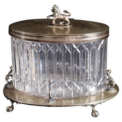 Antique English Figural Mappin & Webb Crystal and Silver Plate Biscuit Jar