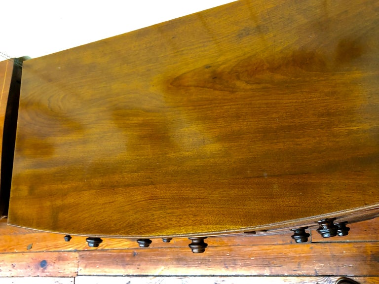 Antique English Figured Mahogany Bowfront Chest with Brushing Slide For Sale 8