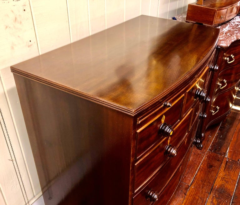 Antique English Figured Mahogany Bowfront Chest with Brushing Slide For Sale 3