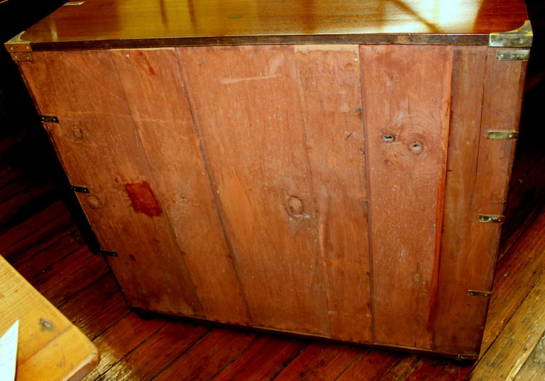 Antique English Figured Mahogany Military or Campaign Style Chest For Sale 6