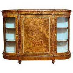 Antique English Fine Burled Walnut Sideboard