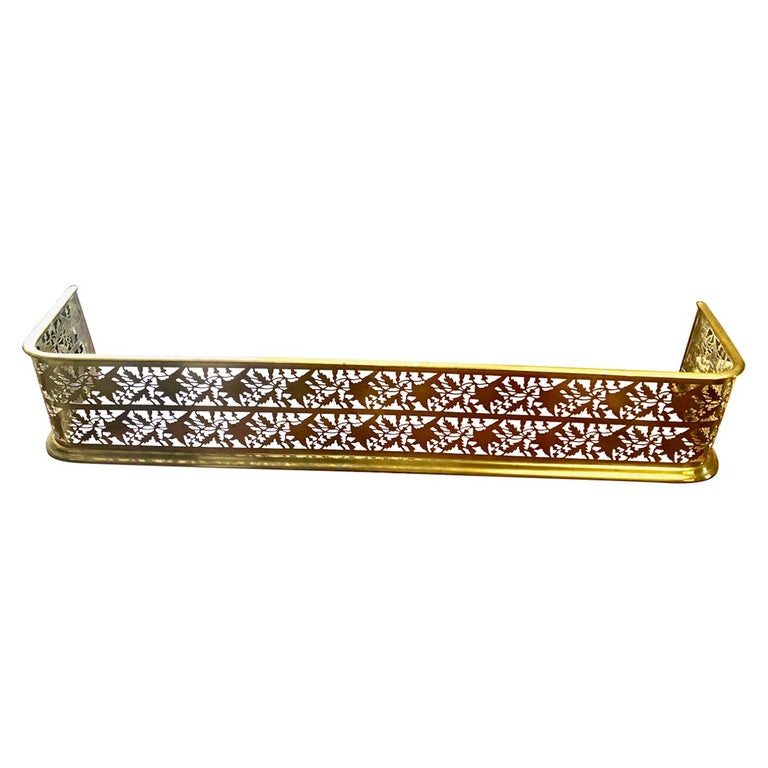 Marvelous Antique Victorian English Brass Fireplace Screen Fireplace Accessories