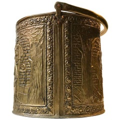 Antique English Fireplace Bucket in Embossed Brass