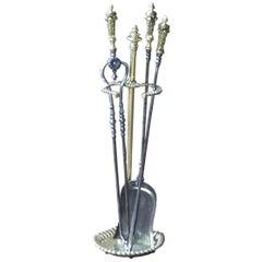 Antique English Fireplace Tools, Victorian Companion Set, 19th Century
