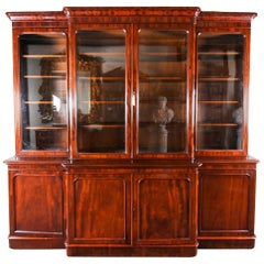 Antique English Flame Mahogany Library Breakfront Bookcase, 19th Century