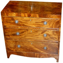 Antique English Flame or Crotch Mahogany Regency Style Small Chest of Drawers