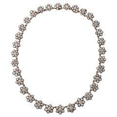 Antique English Floral Cluster Diamond Necklace