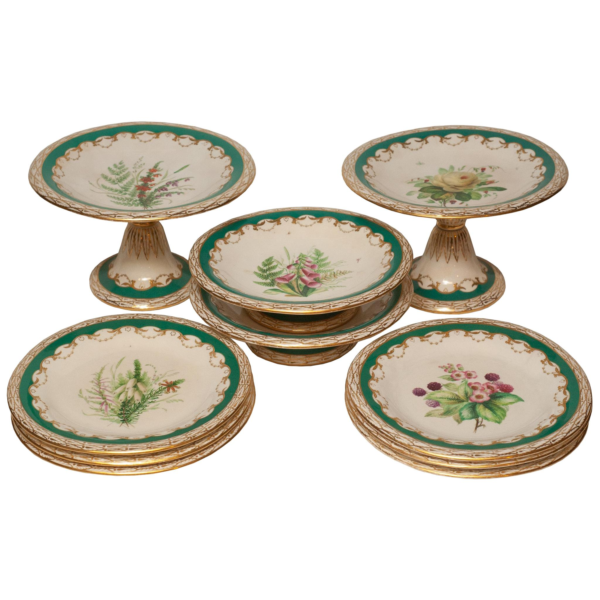 Antique English Floral Dishes Set of Tall and Short Tazzas and Dessert Plates