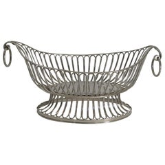 Antique English Footed Silver Plate Bread Basket, circa 1880
