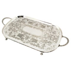 Antique English Footed Silver Plated Gallery Serving Tray with Floral Decoration