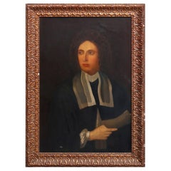 Antique English Framed Oil on Canvas Portrait Painting of Statesman 19th Century