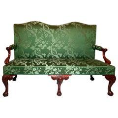 Antique English George III Green Upholstered Mahogany Settee, Circa 1790-1820