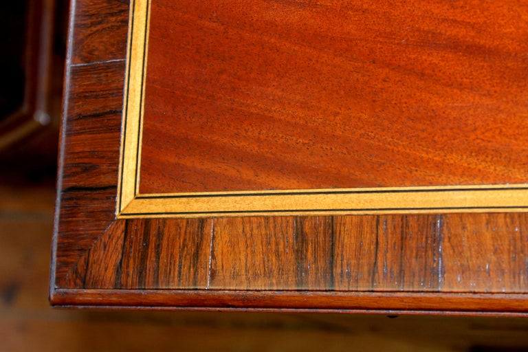 Antique English George III Inlaid Flame Mahogany Diminutive Low Chest of Drawers For Sale 5