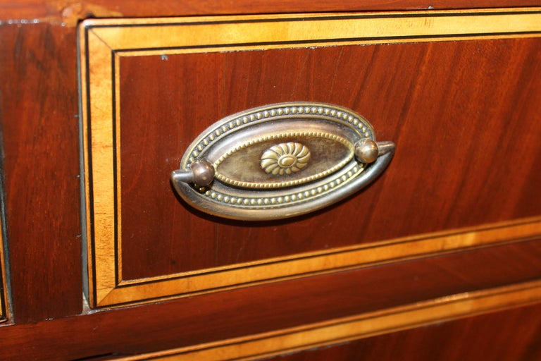 Antique English George III Inlaid Flame Mahogany Diminutive Low Chest of Drawers For Sale 6