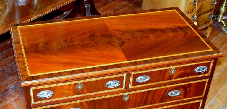 Antique English George III Inlaid Flame Mahogany Diminutive Low Chest of Drawers In Good Condition For Sale In Charleston, SC