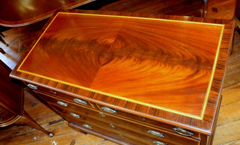 18th Century Antique English George III Inlaid Flame Mahogany Diminutive Low Chest of Drawers For Sale