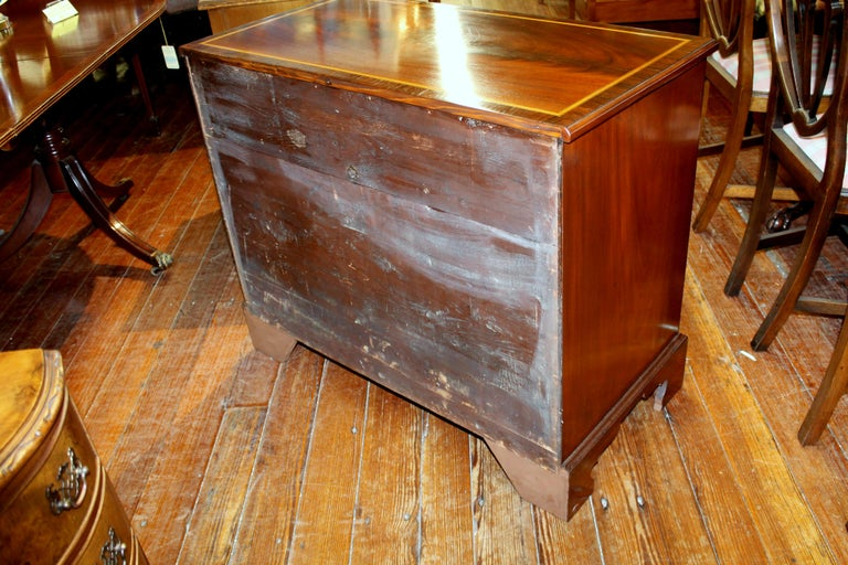 Antique English George III Inlaid Flame Mahogany Diminutive Low Chest of Drawers For Sale 1