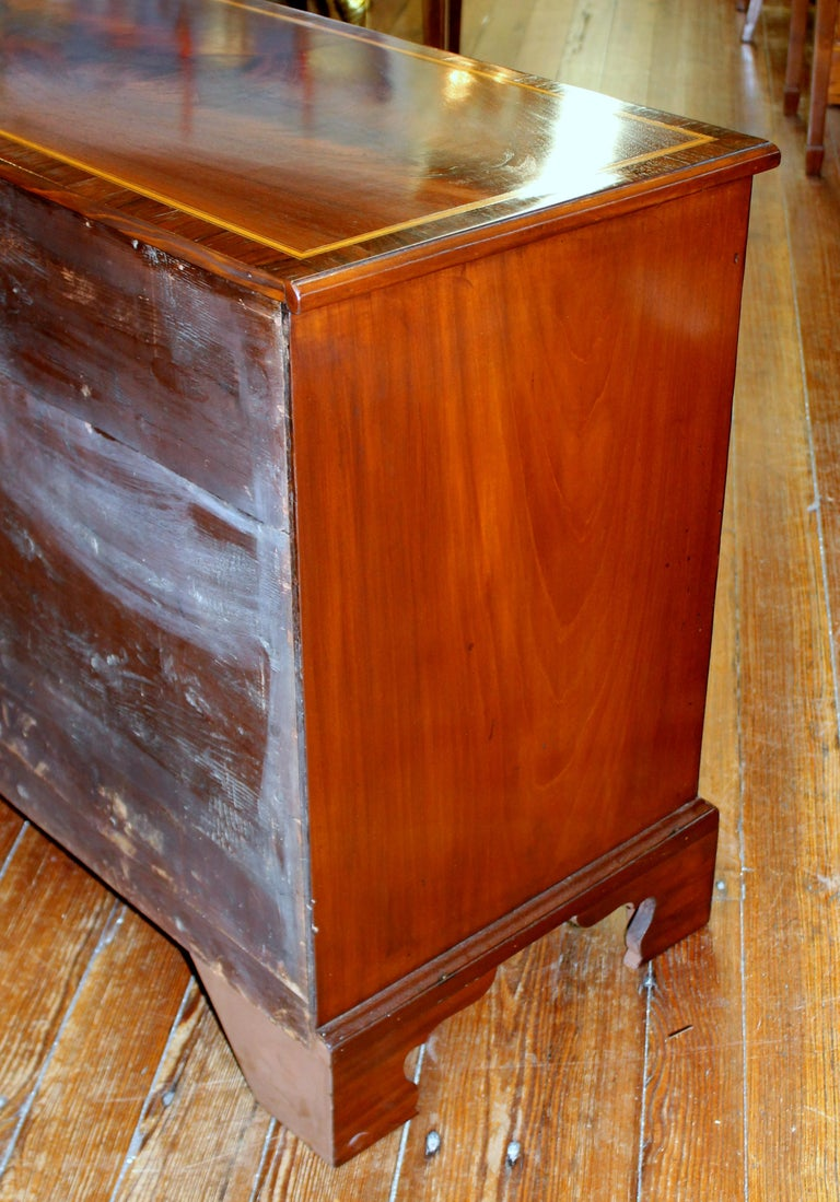 Antique English George III Inlaid Flame Mahogany Diminutive Low Chest of Drawers For Sale 2