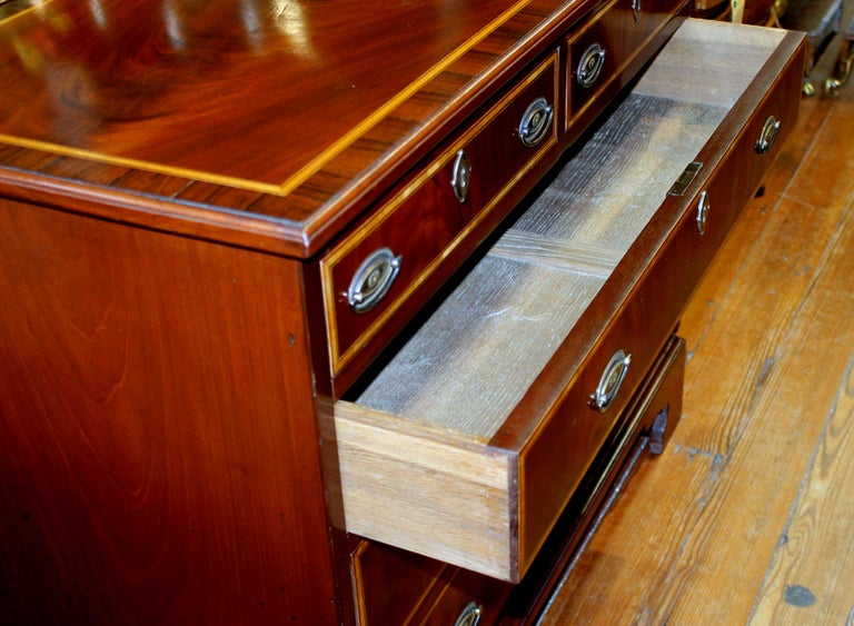 Antique English George III Inlaid Flame Mahogany Diminutive Low Chest of Drawers For Sale 3