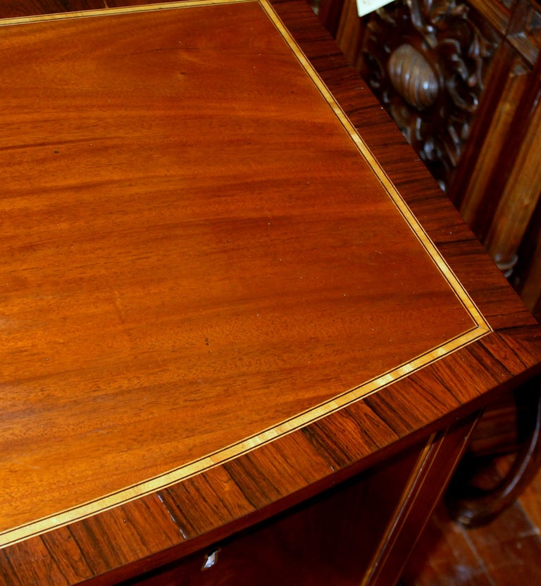 Inlay Antique English George III Inlaid Flame Mahogany Hepplewhite Bowfront Sideboard For Sale
