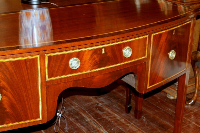 19th Century Antique English George III Inlaid Flame Mahogany Hepplewhite Bowfront Sideboard For Sale