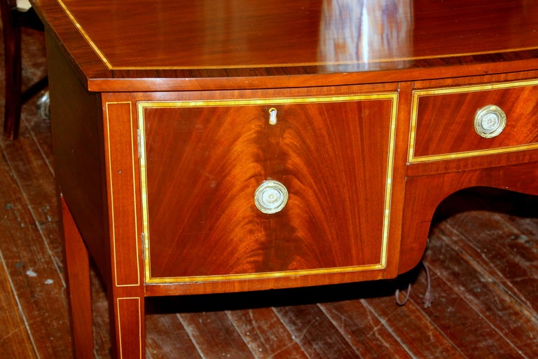 Rosewood Antique English George III Inlaid Flame Mahogany Hepplewhite Bowfront Sideboard For Sale