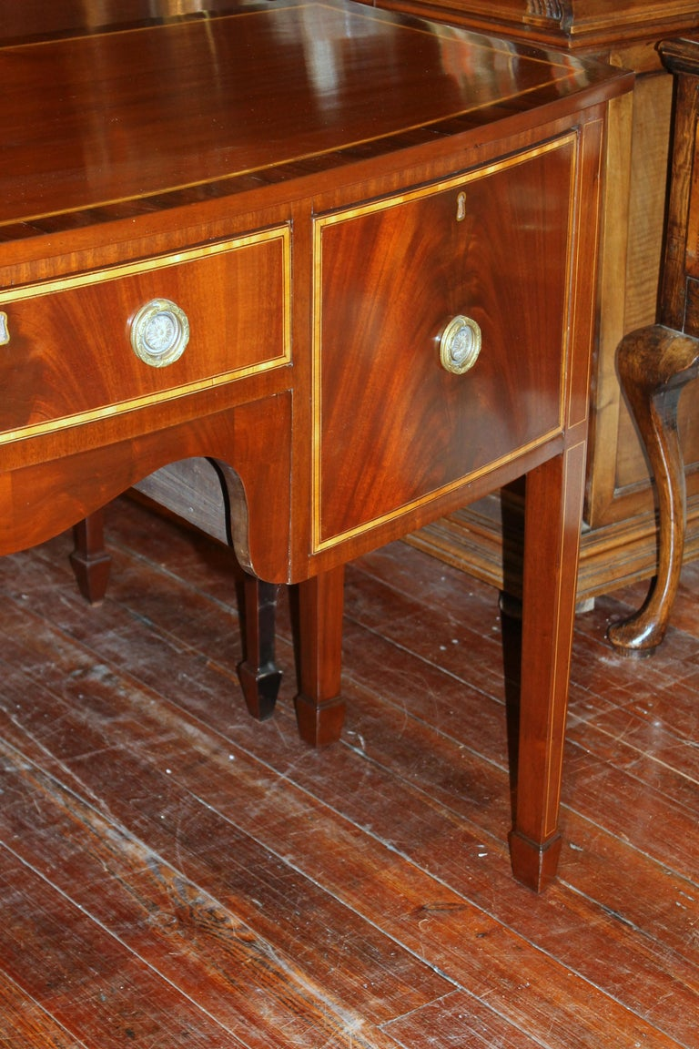 Antique English George III Inlaid Flame Mahogany Hepplewhite Bowfront Sideboard For Sale 1