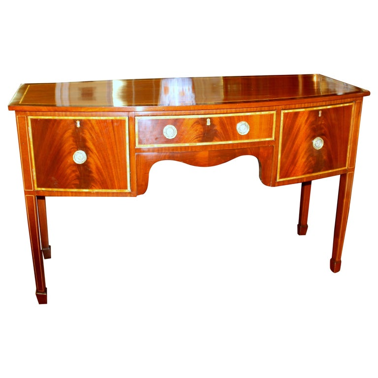 Antique English George III Inlaid Flame Mahogany Hepplewhite Bowfront Sideboard For Sale